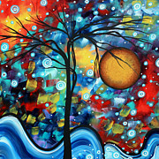 Whimsical Paintings - Abstract Landscap Art Original Circle of Life Painting SWEET SERENITY by MADART by Megan Duncanson