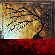 Silhouette Painting Posters - Abstract Landscape Art Original Painting ENGAGE ME by MADART Poster by Megan Duncanson