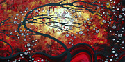 Landscape Artwork Prints - Abstract Landscape Art Original Painting WHERE DREAMS ARE BORN by MADART Print by Megan Duncanson