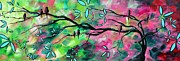 Whimsical Framed Prints - Abstract Landscape Bird and Blossoms Original Painting BIRDS DELIGHT by MADART Framed Print by Megan Duncanson