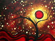 Black Art Paintings - Abstract Landscape Glowing Orb by MADART by Megan Duncanson