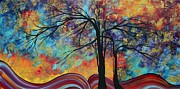 Whimsy Framed Prints - Abstract Landscape Tree Art Colorful Gold Textured Original Painting COLORFUL INSPIRATION by MADART Framed Print by Megan Duncanson