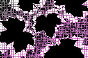 Squares. Linear Posters - Abstract Leaf Pattern - Black White Pink Poster by Natalie Kinnear