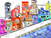 Village By The Sea Mixed Media Posters - Abstract Living By The Sea  Poster by Brian Buckley