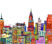 American City Mixed Media Prints - Abstract Living New York City Print by Brian Buckley