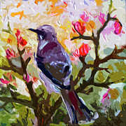 Abstract Wildlife Mixed Media - Abstract Mockingbird in Spring  by Ginette Callaway