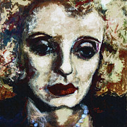Actors Mixed Media Prints - Abstract Modern Bette Davis Print by Ginette Callaway