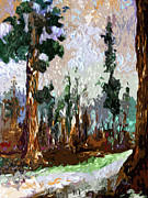 National Mixed Media Prints - Abstract Modern Giant Sequoia Trees Print by Ginette Callaway