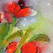 Ginette Fine Art Llc Ginette Callaway Metal Prints - Abstract Modern Red Tulips Watercolor Metal Print by Ginette Callaway