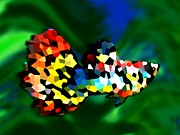 Graphic Design Digital Art - Abstract Multicolor Fish by Mario  Perez