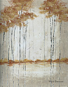 Image Painting Originals - Abstract Neutral Landscape Pond Reflection Painting Mystified Dreams II By Megan Ducanson by Megan Duncanson