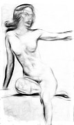 Naked Drawings Posters - Abstract Nude 2 Poster by Stefan Kuhn