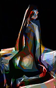 Nude Digital Art - Abstract Nude on Bed by Stefan Kuhn