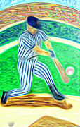 Baseball Uniform Mixed Media Framed Prints - Abstract of the hit Framed Print by Michael Knight