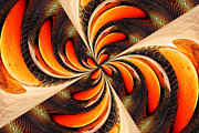 Nelieta Mishchenko Posters - Abstract Orange Twirl Poster by Nelieta Mishchenko