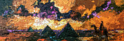 Egypt Mixed Media - Abstract Panoramic Egypt and Pyramids Desert Sun by Ginette Callaway