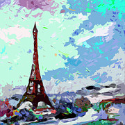 Eiffel Tower Mixed Media Metal Prints - Abstract Paris Memories in Blue Metal Print by Ginette Callaway