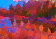 Halifax Artist John Malone Prints - Abstract pond Print by John Malone