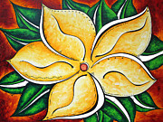 Plumeria Paintings - Abstract Pop Art Yellow Plumeria Flower TROPICAL PASSION by MADART by Megan Duncanson