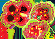 Vase Of Flowers Posters - Abstract Poppies Poster by Anita Dale Livaditis