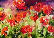 Most Popular Framed Prints Posters - Abstract poppys Poster by Mary Cahalan Lee