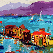 Oil Mixed Media - Abstract Portovenere Italy Part Two by Ginette Callaway