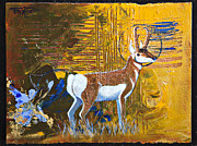 Periwinkle Originals - Abstract Pronghorn Antelope by Tracy L Teeter