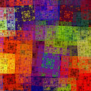 Newest Art Uploads - Abstract - Rainbow Bliss - Fractal - Square by Andee Photography