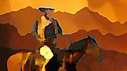 John Malone Halifax Artist Posters - Abstract Range Riding Poster by John Malone