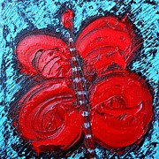 ANA MARIA EDULESCU - ABSTRACT RED HAPPY BUTTERFLY