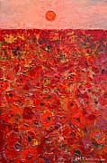 Abstract Red Poppies Field At Sunset Print by Ana Maria Edulescu