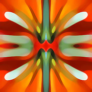 Abstract Movement Art - Abstract Red Tree Symmetry by Amy Vangsgard