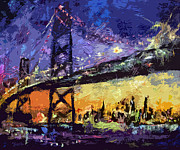 Skylines Mixed Media Metal Prints - Abstract San Francisco Oakland Bay Bridge at Night Metal Print by Ginette Callaway