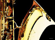 Saxophone Prints - Abstract Saxophone Instrument - Sax 2 Print by Sharon Cummings