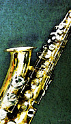 Musical Posters - Abstract Saxophone Instrument - Sax 3 Poster by Sharon Cummings