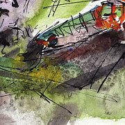 Watercolor And Ink Paintings - Abstract Screams of a Dying Fish  by Ginette Callaway