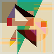 Cubist Digital Art Framed Prints - Abstract Shapes #4 Framed Print by Gary Grayson
