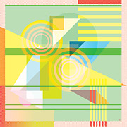 Cubist Digital Art Posters - Abstract Shapes #5 Poster by Gary Grayson
