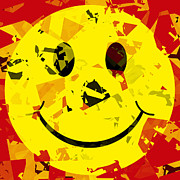 Smiley Face Prints - Abstract Smiley Face Print by David G Paul