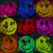 Smiley Face Prints - Abstract Smiley Faces Print by David G Paul