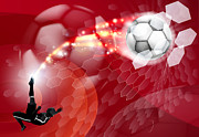 Fast Ball Digital Art Prints - Abstract Soccer Sport Background Print by Christos Georghiou