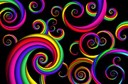 Colorful Digital Art - Abstract - Spirals - Inside a clown by Mike Savad