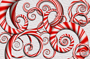 Winter Scenes Digital Art Prints - Abstract - Spirals - Peppermint Dreams Print by Mike Savad