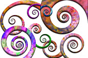 Water Color Digital Art Prints - Abstract - Spirals - Planet X Print by Mike Savad
