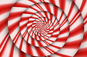 Optical Illusion Digital Art Prints - Abstract - Spirals - The power of mint Print by Mike Savad
