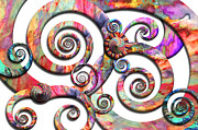 Vintage Digital Art Metal Prints - Abstract - Spirals - Wonderland Metal Print by Mike Savad