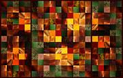 Irina Sztukowski - Abstract Squares Triptych Gentle Brown
