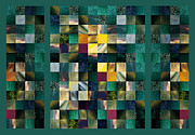 Irina Sztukowski - Abstract Squares Triptych Gentle Green