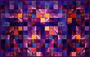 Irina Sztukowski - Abstract Squares Triptych Gentle Purple