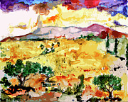 Watercolor Landscapes Posters - Abstract Summer Landscape Poster by Ginette Callaway